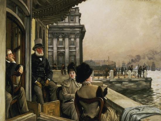 On the Terrace of the Trafalgar-Tavern in Greenwich-James Jacques Tissot-Giclee Print