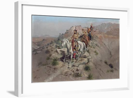 On the Warpath, 1895-Charles Marion Russell-Framed Giclee Print