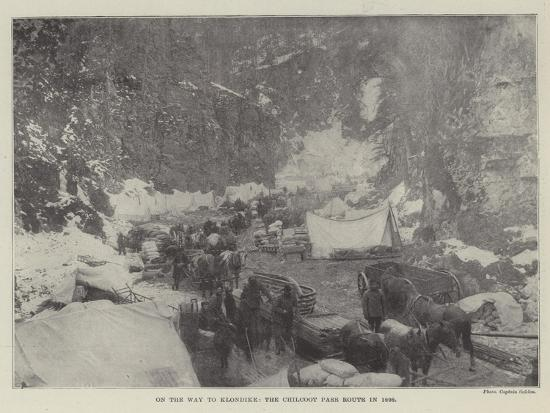 On the Way to Klondike, the Chilcoot Pass Route in 1898--Giclee Print