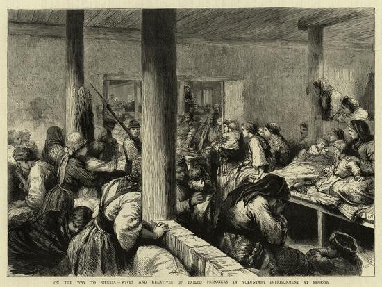 On the Way to Siberia, Wives and Relatives of Exiled Prisoners in Voluntary Imprisonment at Moscow-Godefroy Durand-Giclee Print