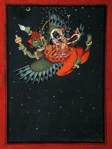 On the Wings of Garuda: Krishna and Satyabhama Fly Through the Night Sky, C.1750