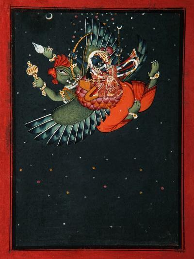 On the Wings of Garuda: Krishna and Satyabhama Fly Through the Night Sky, C.1750--Giclee Print