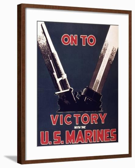 On to Victory with the Us Marines, 1944--Framed Giclee Print