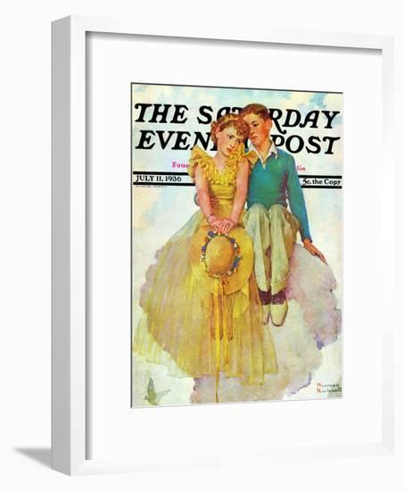 """""""On Top of the World"""" Saturday Evening Post Cover, July 11,1936-Norman Rockwell-Framed Giclee Print"""