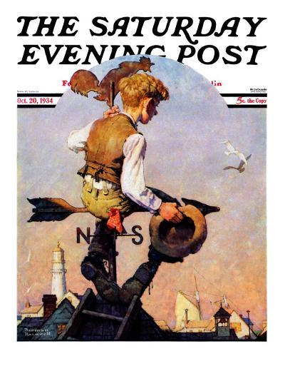 """On Top of the World"" Saturday Evening Post Cover, October 20,1934-Norman Rockwell-Giclee Print"