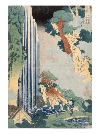 Ona Waterfall on the Kisokaido, 1827 (Colour Woodblock Print)-Katsushika Hokusai-Premium Giclee Print