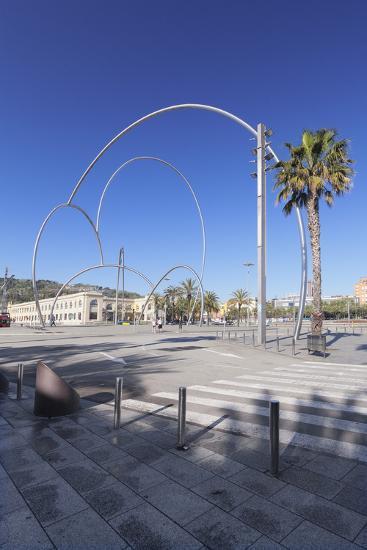 Onades (Waves) sculpture by Andreu Alfaro, Placa del Carbo, Barcelona, Catalonia, Spain, Europe-Markus Lange-Photographic Print