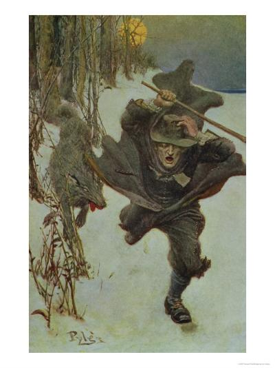 """Once it Chased Doctor Wilkinson into the Very Town Itself, Illustration from """"The Salem Wolf""""-Howard Pyle-Giclee Print"""