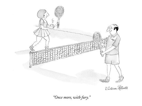 """""""Once more, with fury."""" - New Yorker Cartoon-Victoria Roberts-Premium Giclee Print"""
