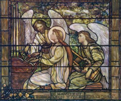 One Angel Helps Saint Cecilia Play the Organ While Another Holds a Lyre