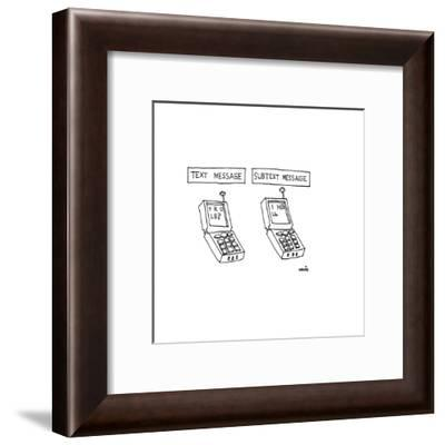 One cell phone displaying a text message that reads ,'Y R U L8?', and anot? - Cartoon-Ariel Molvig-Framed Premium Giclee Print