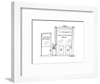 one door says 'Bob Figly, Idea Person', the other, larger door says 'R. J.? - Cartoon-Harley L. Schwadron-Framed Premium Giclee Print