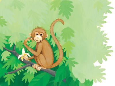 One Little Monkey - Turtle-Kathryn Mitter-Giclee Print