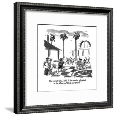 """""""One minute ago, I said, 'Is that another aftershock, or did Marv and Shei?"""" - New Yorker Cartoon-Donald Reilly-Framed Premium Giclee Print"""