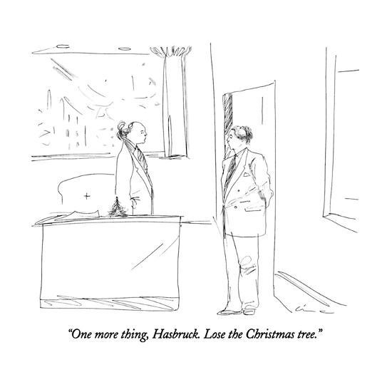One More Thing Hasbruck Lose The Christmas Tree New Yorker Cartoon Premium Giclee Print By Richard Cline Art Com
