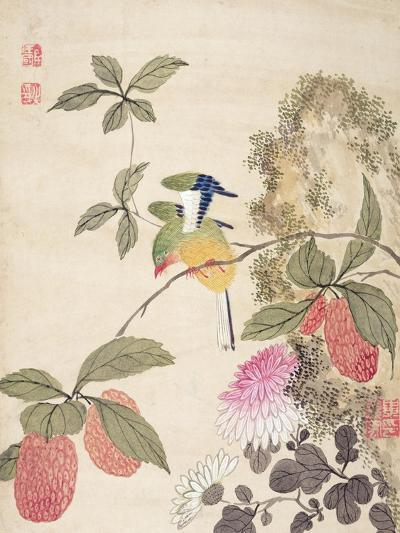 One of a Series of Paintings of Birds and Fruit, Late 19th Century- Wang Guochen-Giclee Print