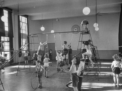 One of Doncaster's New Schools Showing Children Enjoying the Gym and All of its Equipment--Photographic Print