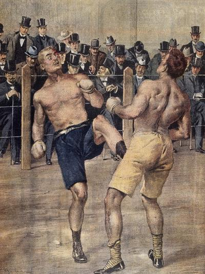 One of First Savate Meetings, French Boxing, Fought in Paris in 1899, Colour. France, 19th Century--Giclee Print