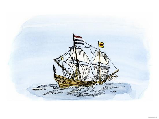 One of Henry Hudson's Ships, 17th Century--Giclee Print