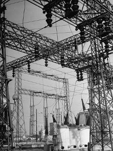 """One of Los Angeles Three Big Power Distributing Stations, Station """"E"""", in San Fernando Valley"""