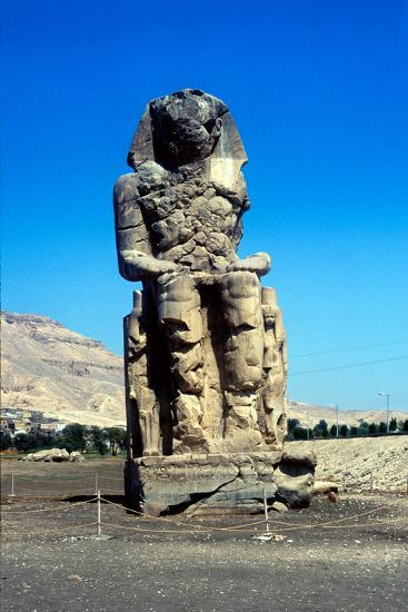 One of the Colossi of Memnon, Near the Valley of the Kings, Egypt, 14th Century Bc--Photographic Print
