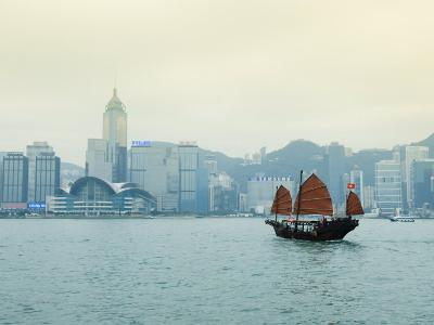 One of the Last Remaining Chinese Sailing Junks on Victoria Harbour, Hong Kong, China-Amanda Hall-Photographic Print