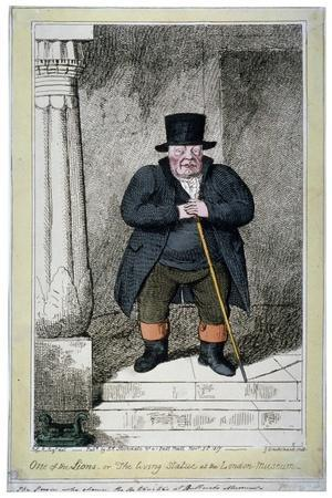 One of the Lions - or the Living Statue at the London Museum, 1817-George Cruikshank-Giclee Print