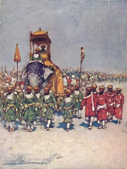'One of the most picturesque Groups in the Retainers' Procession', 1903-Mortimer L Menpes-Giclee Print