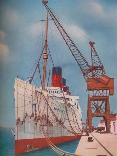 'One of the Most Popular Transatlantic Liners, the Mauretania at Southampton', 1937-Unknown-Giclee Print