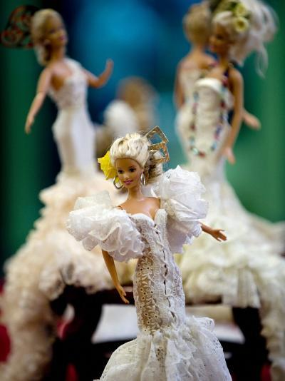 One of the two hundred Barbie dolls dressed in traditional flamenco outfits--Photographic Print