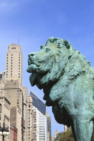 One of Two Iconic Bronze Lion Statues Outside the Art Institute of Chicago, Chicago, Illinois, USA-Amanda Hall-Photographic Print