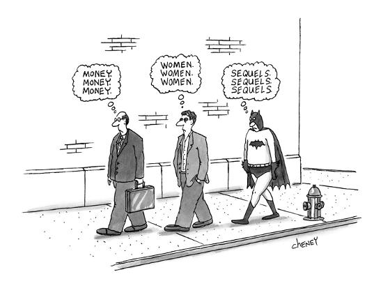 One pedestrian thinking about 'money', followed by another thinking about ? - New Yorker Cartoon-Tom Cheney-Premium Giclee Print