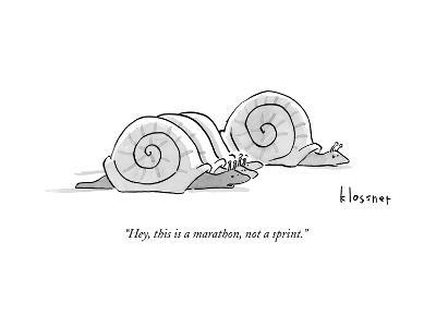 One snail pulls slightly ahead of a few other snails.  - New Yorker Cartoon--Premium Giclee Print