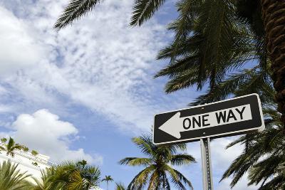 One-Way Street Sign, Collins Street, South Miami Beach, Art Deco District, Florida, Usa-Axel Schmies-Photographic Print