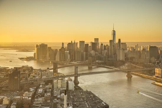One World Trade Center, Manhattan and Brooklyn Bridges, Manhattan, New York City, New York, USA-Jon Arnold-Photographic Print