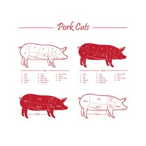 Pork Cuts Red by ONiONAstudio