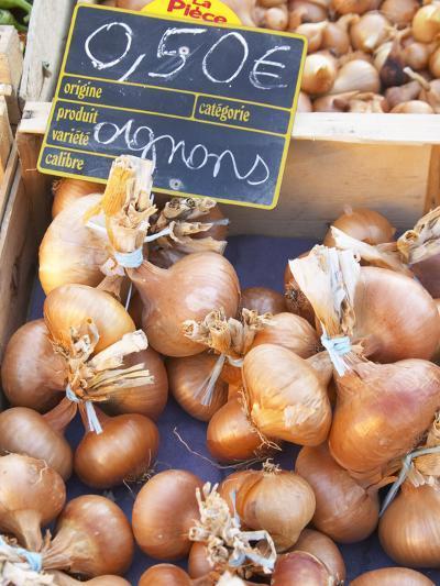 Onions at Market Stall, Bergerac, Dordogne, France-Per Karlsson-Photographic Print