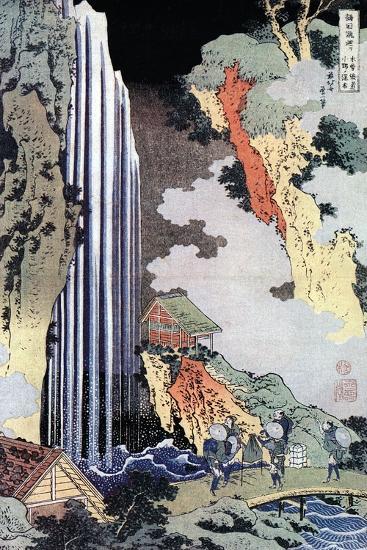 Ono Waterfall Along the Kisokaido, C1780-1849-Katsushika Hokusai-Giclee Print