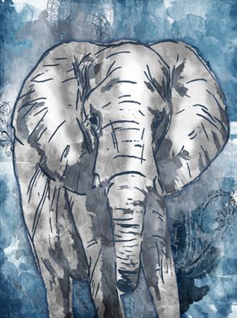 Grey Blue Elephant by OnRei