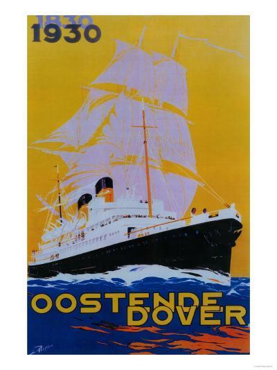 Oostende Dover Vintage Poster - Europe-Lantern Press-Art Print