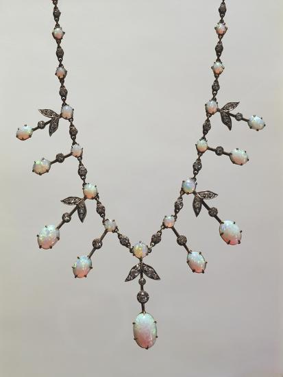 Opal and Diamond Necklace, around 1900--Giclee Print