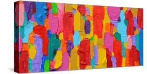 Texture, Background and Colorful Image of an Original Abstract Painting on Canvas by Opas Chotiphantawanon