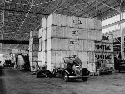 Opel and Pontiac Parts, Shipped from Germany, Stored in Crates in a General Motors Warehouse