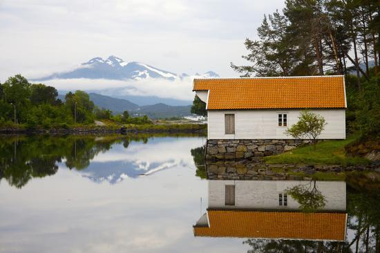 Open-Air Museum, Cottage Reflecting in Lake-Design Pics Inc-Photographic Print