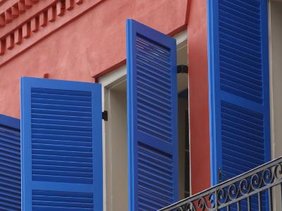 Open Blue Window Shutters on Ornate Building in New Orleans, Louisiana--Photographic Print