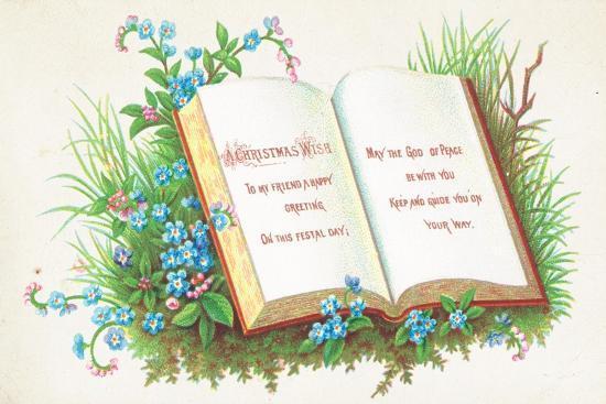 Open Book, Christmas Card-English School-Giclee Print