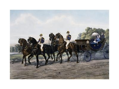 Open Carriage Drawn by Four Horses, 1863, by Guerard, France, 19th Century--Giclee Print