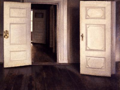 Open Doors-Vilhelm Hammershoi-Giclee Print