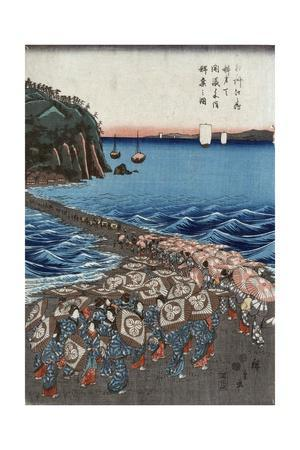 Opening Celebration of Benzaiten Shrine at Enoshima in Soshu-Ando Hiroshige-Giclee Print