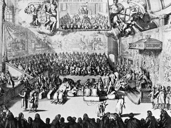 Opening of Parliament by Queen Anne, Westminster, London, 18th Century--Giclee Print